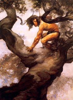 A few Burroughs paintings by Jeff Jones. At the Earth's Core Back to the Stone Age Tarzan, Lord of the Jungle Frank Frazetta, Tarzan Of The Apes, Tarzan And Jane, Jeff Jones, Sword And Sorcery, Art Graphique, Pulp Art, Fantastic Art, Barbarian