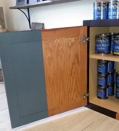 "Restyle Junkie illustrates how much of a transformation GF Gray Gel Stain can provide your old outdated cabinets! Restyle Junkie says, ""Dear Grey Gel Stain, The other colors are getting extremely jealous of all of the attention you're commanding lately. Thanks, The Management"""