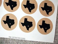 90 Personalized US State Love Round Stickers / Austin Texas State Love Stickers for Wedding Invitations Showers Party Favors Houston Dallas
