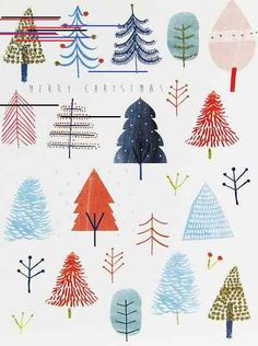 christmas illustration Now we are in December Print amp; Pattern will be going full steam ahead on Christmas design. Ill be posting the various cards and wrap I ha. Christmas Design, Christmas Art, Christmas And New Year, Winter Christmas, All Things Christmas, Christmas Decorations, Christmas Tree Drawing, Christmas Tree Pattern, Christmas Watercolour Cards