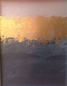 On Sale Abstract Painting 11x14 Pink Gold And Grey Color block Minimalistic Landscape Art