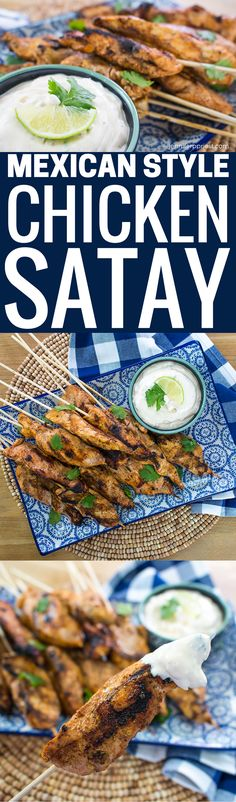 Chicken Satay Recipe with Mexican flavors perfect for entertaining or a quick grilled main dish. A take on skewers with a delicious chipotle dip recipe with Knorr bouillon. Pizza Recipes, Mexican Food Recipes, Real Food Recipes, Chicken Recipes, Dinner Recipes, Easy Recipes, Mexican Dishes, Snack Recipes, Snacks