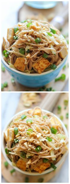 Tofu Soba Noodles - This quick and easy vegetarian noodle dish comes together in just 20 minutes! @Trent Johnson Butts-Ah Rhee