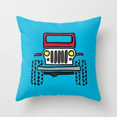 Red Pillows, Throw Pillows, Jeep Drawing, Drawings, Toss Pillows, Cushions, Decorative Pillows, Sketches, Drawing
