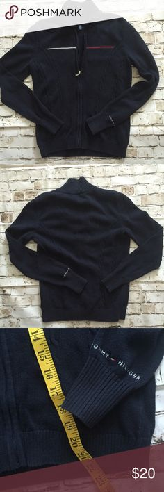 Tommy Hilfiger small navy blue zip up cardigan Excellent condition. Tommy Hilfiger Sweaters Cardigans