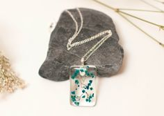 Eco Chic Blue Babies Breath Flower Pendant by LomharaJewellery
