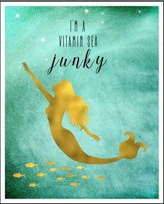 Vitamin Sea Mermaid Printable Aquamarine by LeelaPrintableArt #vitamin_sea #mermaid #quote