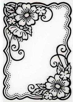 Hot off the Press - Embossing Folder - Flower Corners Más Wood Burning Crafts, Wood Burning Patterns, Wood Burning Art, Leather Tooling Patterns, Leather Pattern, Fun Diy Crafts, Paper Crafts, Colouring Pages, Coloring Books