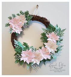 Blue Rose Paper Treasures Poinsettia Cards, Poinsettia Wreath, Pink Wreath, Christmas Poinsettia, Christmas Paper, Christmas Angels, Christmas Projects, Simple Christmas, Christmas Wreaths