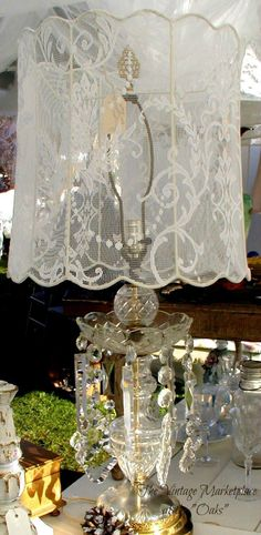 Decor: shabby chic glass and lace lamp Shabby Chic Cottage, Vintage Shabby Chic, Shabby Chic Style, Shabby Chic Decor, Shabby Chic Lamp Shades, Rose Cottage, Vintage Beauty, Chandeliers, Victorian Lamps