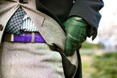 James Andrew with green gloves & purple belt WhatIsJamesWearing.com