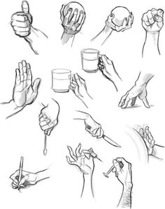 Hands, holding, objects, ball, cup, pen, syringe, knife, thumbs up, screwdriver; How to Draw Manga/Anime