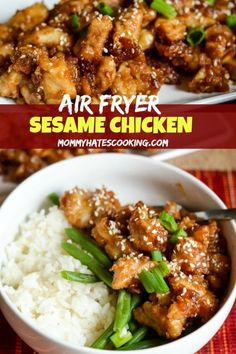 Make a great air fryer chicken recipe with this Air Fryer Sesame Chicken. It's the perfect combination of flavors and you can make it gluten-free too! #AirFryer #AirFryerFanatics