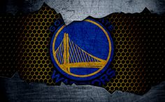 Download wallpapers Golden State Warriors, 4k, logo, NBA, basketball, Western Conference, USA, grunge, metal texture, Northwest Division