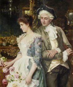 Federico Andreotti 1847 1930 Flirt 47 H 36 Rococo Painting, Victorian Paintings, Victorian Art, Romantic Paintings, Paintings I Love, Beautiful Paintings, Italian Painters, Italian Artist, Jean Rostand