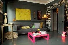 pink table, gray walls, & built-ins