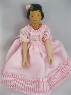 Mary Lee Sundstrom Hitty wooden doll in Pink Silk Dancing Dress | eBay