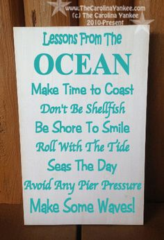 "Lessons from The Ocean Home Decor Wood Board 9""x13"" - Wall Hanging. Etsy, $28"