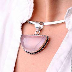 "Купить Колье чокер ""Кварц"" кварц, серебро 925, подвеска - бледно-розовый, алла, butik4you"
