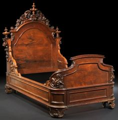 Victorian Rococo Revival Rosewood Bedstead