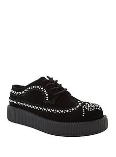 T.U.K. Black Suede Studded Wingtip Viva Low Sole Creepers, BLACK
