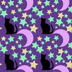 Purple pattern with cats, stars, moons