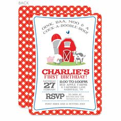 Farm Party Birthday Invitation, Red (Printed) - Pipsy Farm Birthday, Birthday Party Themes, Farm Party Invitations, Teacher Party, Barn Parties, Barnyard Party, Farm Theme, Party Planning, First Birthdays
