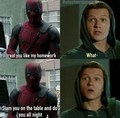 i ship deadpool with andrew garfield's spider man, not tom holland's spider man. so just replace tom with andrew and it's all k