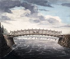 A watercolour image with pen and ink over pencil on paper showing a bridge spanning the Ottawa River with the falls seen beyond and below the bridge's arch. Watercolor Images, Watercolour, Ottawa River, Canada, History, Bridges, Amazing, Pencil, Historia