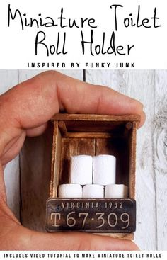 If you're looking to make something unique for your doll's house you're going to love this mini license plate toilet paper holder tutorial. It includes a video that will show you how to make tiny toilet rolls and there's a free printable you can use to create the license plate. #DIYMiniatureToiletPaper #ToiletPaperStorage #ACraftyMix #MakingMiniatures #VideoTutorial #FairyToiletPaper #DollHouseCrafts Toilet Paper Storage, Toilet Paper Roll Diy, Toilet Roll Holder, Craft Stick Crafts, Diy Home Crafts, Fun Crafts, Doll House Crafts, Paper Strips, Crate Storage