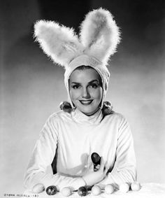 Lynn Merrick doing a thoroughly cute Easter bunny impression. #vintage #actresses #Easter