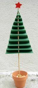 Sapin de Noël: papier cartonné vert plié en accordéon, perforé, enfilé sur un stick à brochette, avec une perle en bois à un bout et dans un mini pot en céramique et gravillons de l'autre côté
