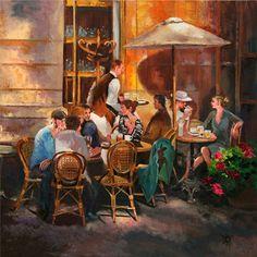 Yary Dluhos Paris Sidewalk Cafe Restaurant