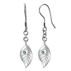 Leaf Earrings with Ethically Sourced Green Sapphires