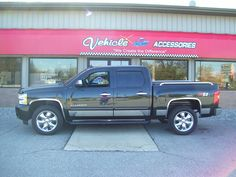 Chevrolet Silverado added a bugshield, vent visors, Chrome Door Handles, Stainless Fender Trim, Stainless Rocker Trim and Bed Rails Chrome Door Handles, Bed Rails, Visors, Chevrolet Silverado, Personality, Vehicles, Rolling Stock, Vehicle, Tools