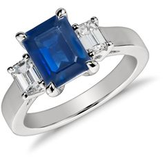 Blue Nile Emerald Cut Sapphire and Diamond Ring (23.815 BRL) ❤ liked on Polyvore featuring jewelry, rings, accessories, jewelry ring, wedding, blue nile, diamond jewellery, diamond wedding rings, sapphire wedding rings and emerald cut wedding rings