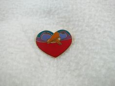"Signed Laurel Burch ""Bird Heart"" Gold Tone Heart Brooch Pin by Framarines on Etsy"