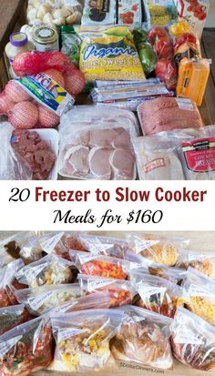 20 Freezer To Slow Cooker for $160 Meal Plan