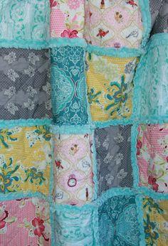 Crib Rag Quilt Baby Girl Crib Bedding Pink Grey Aqua Nursery
