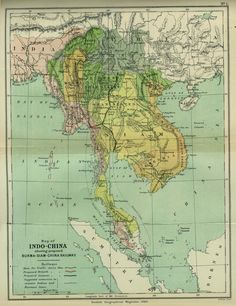 1886 Map of Indochina (Southeast Asia)