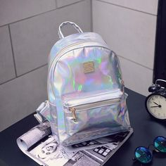 Special Price for 2019 Fashion Hip-hop Holographic Backpack mochilas feminina Women silver laser back pack leather bagpack school bags zaino. Cute Mini Backpacks, Colorful Backpacks, Girl Backpacks, School Backpacks, Small Bookbags, Hologram, Holographic, Bags For Teens, Shoulder Bags For School
