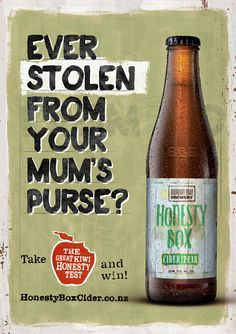 Honesty Box Cider Brand has a brilliant classic kiwi look, and puts the concept of honesty right in front of the buyer.