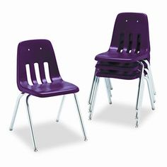 "Virco 9000 Series Plastic Classroom Chair (Set of 4) Seat Height: 14"", Foot Type: Nylon Glides, Seat Color: Red"