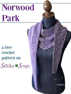 Norwood Park is a free crochet pattern on Stitches n Scraps. It combines color blocking with a unique, asymmetrical, V shape. Lightweight yarn and tapered ends make it light enough for spring weather, even when wrapped around. The beginner friendly pattern uses an unconventional decrease, which is not only easier to do, but also helps to avoid extra bulk along the edges.