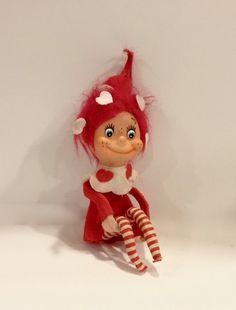 Vintage Knee Hugger Valentine Hearts  Elf by VintagePrairieHome