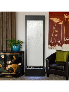 Modern Indoor or Outdoor Sleek Gardenfal Fountain: Bluworld USA: Clear Glass With Black Oxide Frame, Medium