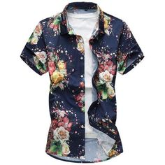 Mens Graceful Flowers Printing Breathable Casual Short Sleeve Lapel Shirt is designer and cheap on Newchic. Casual Shirts For Men, Casual Shorts, Korean Shirts, Beach Shirts, Plus Size Shorts, Casual Street Style, Blouse, Dresser, Floral