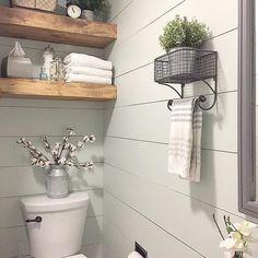 Modern Farmhouse Bathroom / DIY Shiplap and Floating Shelves / Cotton Stem Decor