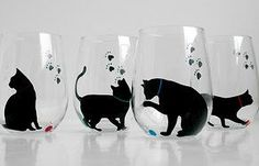 Cat and Yarn Stemless Wine Glasses - Set of 2 Hand Painted Black Cat Glasses… - What more to say other than we just LOVE cool stuff!