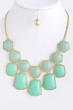 Mint Chunk Jewel Necklace, $15.00